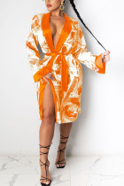 Orange Sexy Print Frenulum Outerwear