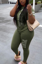 Green Fashion Casual Letter Printed Two-piece Set