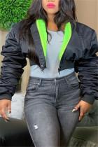 Black Fashion Casual Solid Cardigan Zipper Collar Outerwear