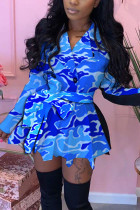 Blue Fashion Daily Adult Patchwork Print Split Joint With Belt Turndown Collar Long Sleeve Mini Printed Dress Dresses