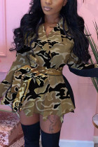 Yellow Fashion Daily Adult Patchwork Print Split Joint With Belt Turndown Collar Long Sleeve Mini Printed Dress Dresses