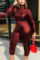Red Fashion Sexy Solid Split Joint Hooded Collar Long Sleeve Cap Sleeve Regular Two Pieces