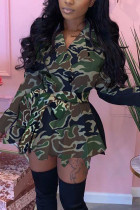 Army Green Fashion Daily Adult Patchwork Print Split Joint With Belt Turndown Collar Long Sleeve Mini Printed Dress Dresses