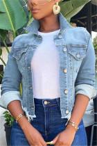 Baby Blue Fashion Casual Solid Cardigan Turndown Collar Long Sleeve Regular Denim Coats