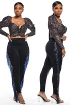 Black Polyester Elastic Fly Sleeveless High Tassel Patchwork Zippered Solid pencil Pants  Pants