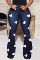 Deep Blue Fashion Casual Regular Print High Waist Jeans