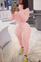 Pink Street Solid Turtleneck Long Sleeve Two Pieces