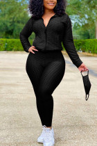 Black Sexy Sportswear Patchwork Zipper Collar Long Sleeve Two Pieces (With Mask)