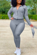 Grey Sexy Sportswear Patchwork Zipper Collar Long Sleeve Two Pieces (With Mask)