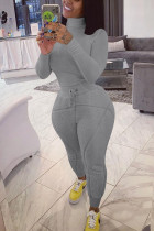 Light Gray Street Solid Turtleneck Long Sleeve Two Pieces