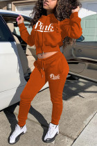 Orange Fashion Casual Letter Print Letter Hooded Collar Long Sleeve Two Pieces