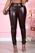 Coffee Fashion Casual Solid Pants Skinny Trousers