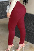 Wine Red Daily Solid Buttons Plus Size