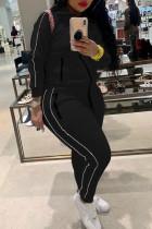Black Fashion Casual Solid Basic Turndown Collar Plus Size Set