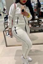 White Fashion Casual Solid Basic Turndown Collar Plus Size Set