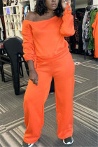Orange Fashion Casual Solid Basic Oblique Collar Long Sleeve Two Pieces