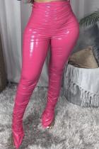 Pink Street Solid Fold Skinny Bottoms