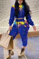Blue Casual Print Hooded Collar Long Sleeve Two Pieces