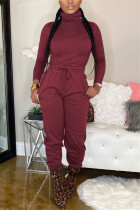 Wine Red Casual Fashion Bandage Solid Two Pieces