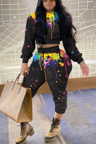 Black Casual Print Hooded Collar Long Sleeve Two Pieces