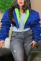 Royal blue Fashion Casual Solid Cardigan Zipper Collar Outerwear