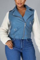 Blue Elegant Solid Split Joint Turndown Collar Outerwear