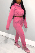 Pink Street Solid Hooded Collar Long Sleeve Two Pieces