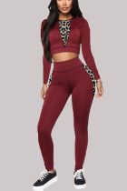 Wine Red Casual Print Split Joint O Neck Three Quarter Two Pieces