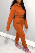Orange Street Solid Hooded Collar Long Sleeve Two Pieces