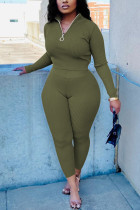 Olive green Fashion Casual Solid Basic Zipper Collar Long Sleeve Two Pieces