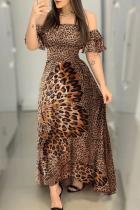Leopard print Sexy Butterfly Print Split Joint Bateau Neck Asymmetrical Dresses