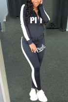 Black Casual Solid Embroidered O Neck Long Sleeve Two Pieces