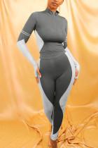 Grey Sportswear Solid Split Joint Zipper Collar Long Sleeve Two Pieces