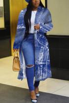 Baby Blue Fashion Print Split Joint Turndown Collar Outerwear