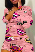 Pink Polyester Fashion adult Ma'am Sweet O Neck Print Two Piece Suits Pattern Plus Size
