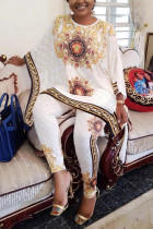 White Casual Daily O Neck Three Quarter Batwing Sleeve Print Plus Size