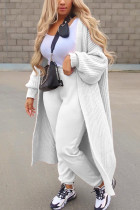 White Casual Solid Hollowed Out Outerwear