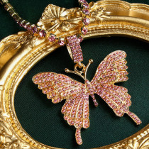 rose red Fashion Casual Butterfly Necklace Pendant
