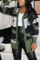 Army Green Casual Print Split Joint V Neck Tops