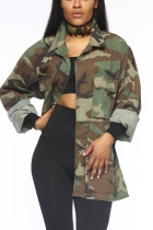 Camouflage Sweet Camouflage Print Turndown Collar Outerwear
