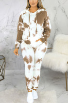 Brown Sexy Print Split Joint Hooded Collar Long Sleeve Two Pieces