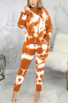 Orange Sexy Print Split Joint Hooded Collar Long Sleeve Two Pieces