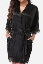 Black Sexy Fashion Loose Lace Nightdress
