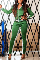 Green Casual Sportswear Patchwork Split Joint Zipper Collar Long Sleeve Two Pieces