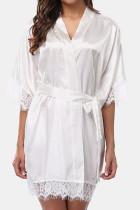 White Sexy Fashion Loose Lace Nightdress