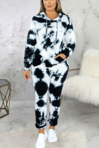 Black Sexy Print Split Joint Hooded Collar Long Sleeve Two Pieces