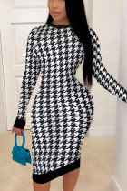 White British Style Print Hollowed Out O Neck A Line Dresses