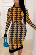 Yellow British Style Print Hollowed Out O Neck A Line Dresses