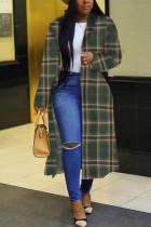 Green Street Plaid Turndown Collar Outerwear