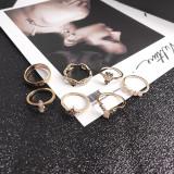 Gold Fashion Casual Diamond Ring Set of 17